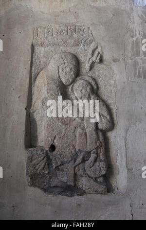 Stone carving of Virgin and Child, St John the Baptist Church, Inglesham, Wiltshire, England - Stock Image