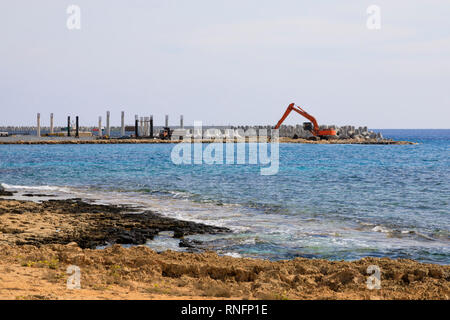 Construction of Ayia Napa Marina, Cyprus October 2018 - Stock Image