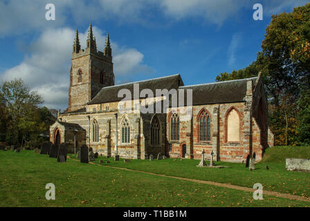 The church of St Nicholas in the hamlet of Stanford on Avon, Northamptonshire, UK; earliest parts date from 14th century. - Stock Image