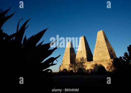 The furnaces at the Santa Brigida, an abandoned mine, are seen in Mineral de Pozos, San Luis de la Paz, Mexico - Stock Image