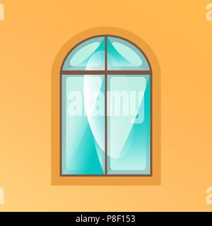Window on yellow background. Ancient wooden window with highlights in cartoon style - Stock Image