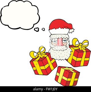 freehand drawn thought bubble cartoon tired santa claus face with presents - Stock Image
