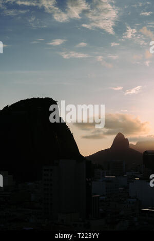Two Brothers mountain view from Copacabana, Rio de Janeiro, Brazil - fine art style - Stock Image