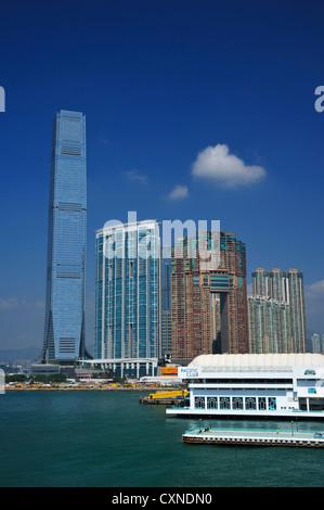 Victoria Harbor and the Ritz Carlton Hotel, Hongkong SAR - Stock Image