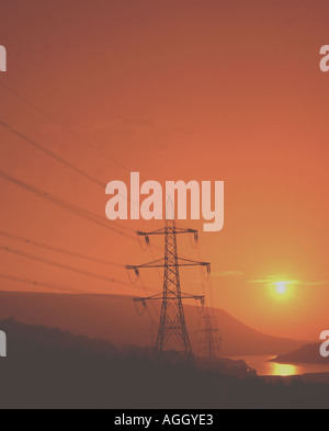 Peak District England Electricity pylons - Stock Image