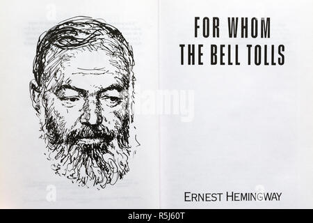For whom the Bell Tolls Book - novel by Ernest Hemingway. Title page and drawing of the author. - Stock Image