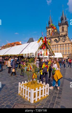 Easter Market, old town square, Prague, Czech Republic - Stock Image