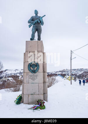 Soviet Liberation Monument, in Kirkenes, Norway, commemorating the liberation of Kirkenes from German occupation - Stock Image