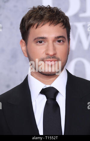 The Brit Awards 2019 held at the O2 - Arrivals  Featuring: Jonas Blue Where: London, United Kingdom When: 20 Feb 2019 Credit: Lia Toby/WENN.com - Stock Image