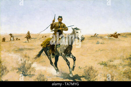 Frederic Remington, The Flight, Wild West painting, 1895 - Stock Image