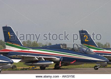 Aermacchi MB 339PAN Rivolto Italia Air show 2005, Italian Air Force Frecce Tricolori - Stock Image