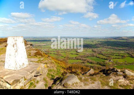 The Cheshire plain and surrounding  countryside seen from the trig point on Bosley cloud or Cloud end near Congleton Cheshire England - Stock Image