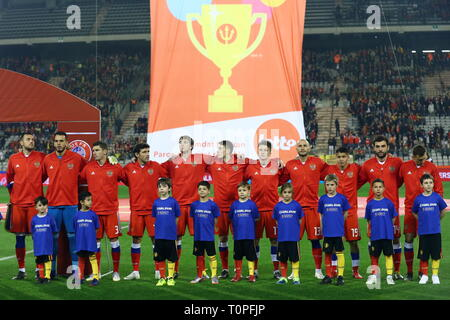 BRUSSELS, BELGIUM – MARCH 21, 2019: Russia's players stand to the national anthem ahead of their UEFA Euro 2020 qualifying football match against Belgium at King Baudouin Stadium. Anton Novoderezhkin/TASS - Stock Image