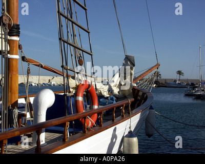 Dawn Approach is a traditional wooden sailing ship built in Scotland in 1921, now located in the marina at Fuengirola, Spain, - Stock Image