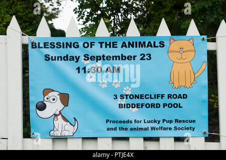 Banner advertising a blessing of the animals ceremony at Union Church in Biddeford Pool, Maine, USA. - Stock Image