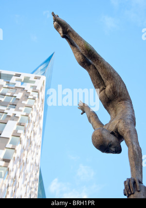 Modern sculpture outside the newly built 'The Cube' building, in Birmingham, UK - Stock Image