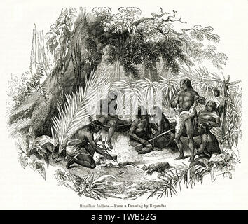 Indigenous people of Brazil, South America.      Date: 1842 - Stock Image