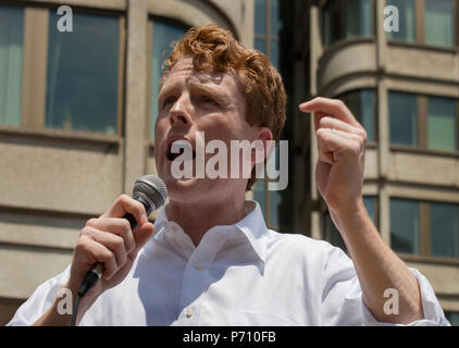U.S. Democratic Representative Joseph Patrick Kennedy III (Joe Kennedy), grandson of Robert Kennedy and grand-nephew of John F. Kennedy Speaking during the Rally against Family Separation in Boston, MA. Kennedy had spoken against U.S. President Donald Trump's policy of detaining immigrants and separating immigrant families.  Large rallies against U.S. President Trump's policy of separating immigrant families took place in more than 750 U.S. cities on June 30th of 2018. - Stock Image