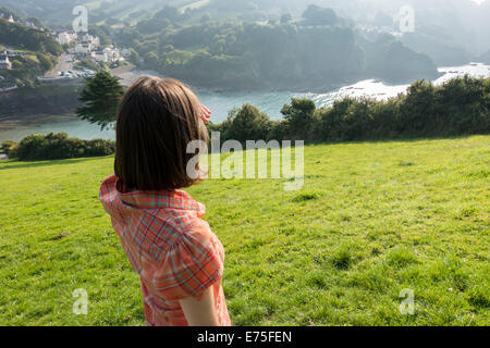 Combe Martin seaside holiday resort in Devon UK on a bright sunny day - Stock Image