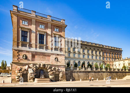 16 September 2018: Stockholm, Sweden - Royal Palce in Stadsholmen, Gamla stan, the old town in the Swedish capital, on a beautiful, sunny autumn day. - Stock Image