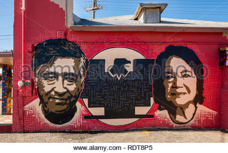 Mural of Cesar Chavez and Dolores Huerta, co-founders of the National Farm Workers Association - Stock Image
