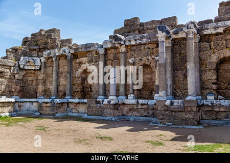 Ancient Side city agora, central hall ruins. Side, Antalya province, Turkey. Ruins of ancient city in Side. Old ruins of the city of Side Turkey - Stock Image