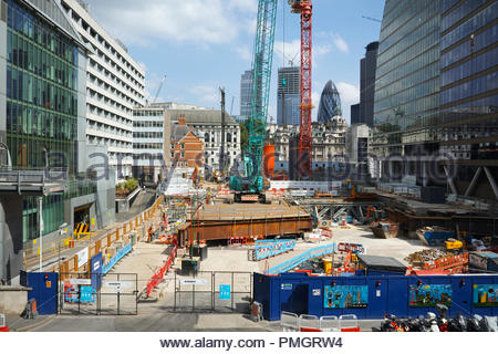 Construction work on 21 Moorfields: Moorgate, City of London. - Stock Image