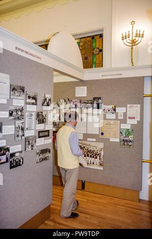 Miami Beach Florida Jewish Museum of Florida man exhibit display education heritage photographs history ethnicity ethnic immigra - Stock Image