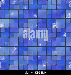 blue bathroom tiles - Stock Image