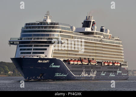 Mein Schiff 1 outbound from Kiel - Stock Image