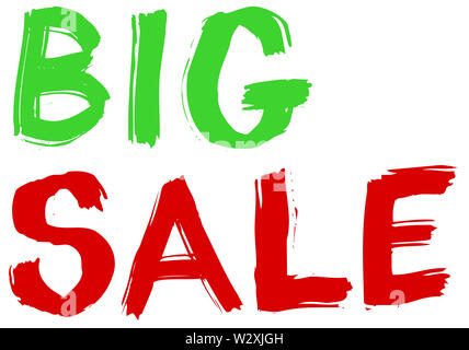big sale discount clearance illustration green red color - Stock Image