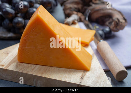 Piece of hard orange Cheddar cheese served with black grape, close up - Stock Image