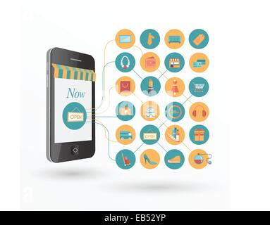 Online shopping concept with icons and smartphone - Stock Image