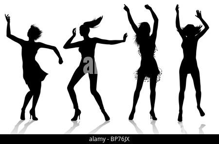 Dancing Girl Silhouettes - Stock Image