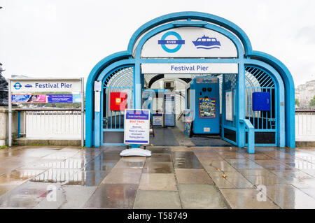 Entrance to Festival Pier, a stop for river boat services on the River Thames, London, England, GB, UK - Stock Image