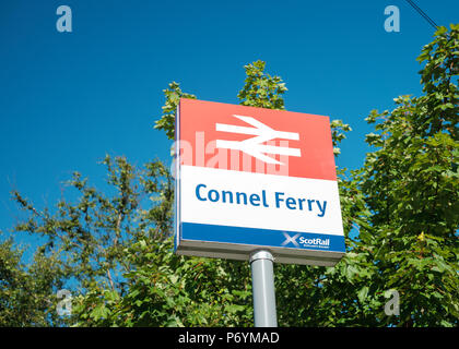 Station sign at Connel Ferry station, on the Oban branch of the West Highland Line, Scotland - Stock Image