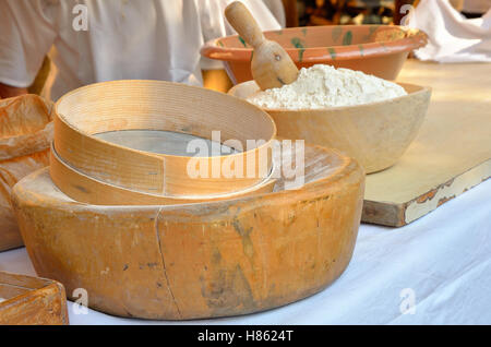 old sieve for flour in the kitchen in italy - Stock Image