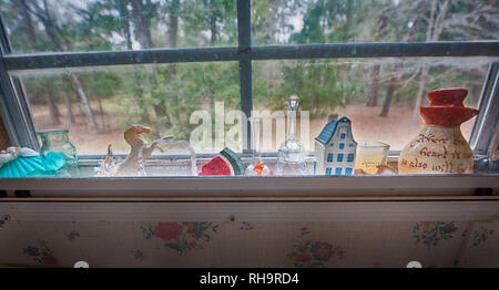 Items in a kitchen window. - Stock Image