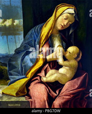 Madonna col Bambino - Madonna and Child,   by Pier Maria Pennacchi 1464-1514 Italy, Italian. - Stock Image