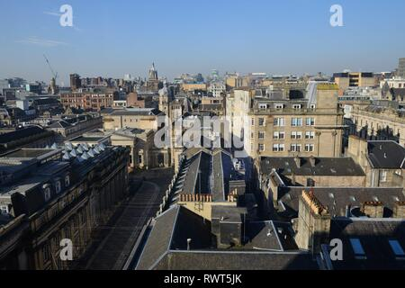Urban view north-west over the city centre of Glasgow, Scotland, UK, Europe - Stock Image