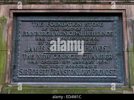 Foundation stone of the Edinburgh Municipal Buildings, Scotland, UK - Stock Image