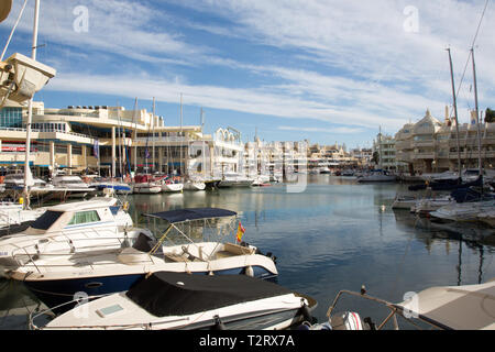 Benalmadena marina, Costa del Sol, Spain. Advertised to be one of the best marinas in the world. - Stock Image