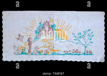 printed paper serviette popular for school children to collect in 1970s hungary - Stock Image