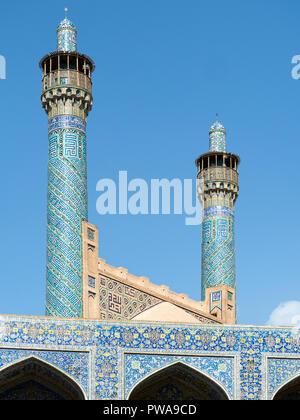Shah mosque minarets, Isfahan, Iran - Stock Image