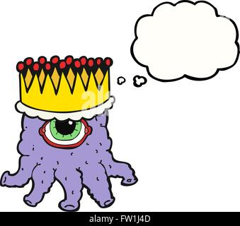 freehand drawn thought bubble cartoon king alien - Stock Image