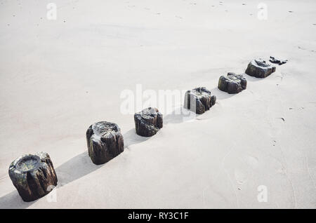 Old wooden breakwater remainings in sand, color toning applied. - Stock Image