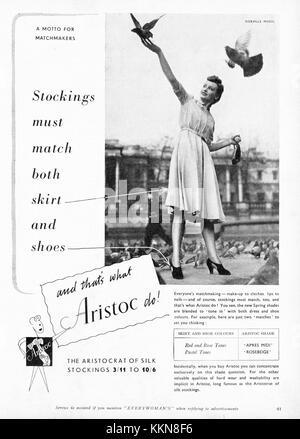 1939 UK Magazine Aristoc Stockings Advert - Stock Image
