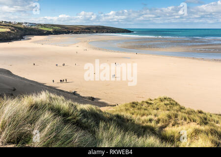 A view over Crantock Beach from the top of the sand dune system in Newquay in Cornwall. - Stock Image