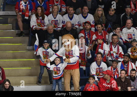 Bratislava, Slovakia. 21st May, 2019. Czech fans are seen during the match between Czech Republic and Switzerland within the 2019 IIHF World Championship in Bratislava, Slovakia, on May 21, 2019. Credit: Vit Simanek/CTK Photo/Alamy Live News - Stock Image