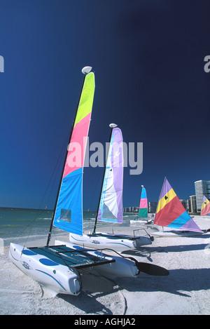 Sailboats on Beach Florida FL Marco Island Southwest Florida Naples area - Stock Image